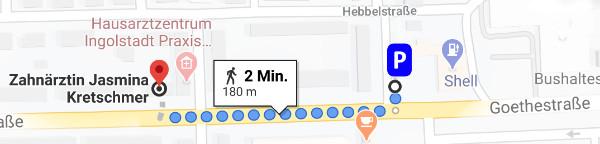 Wegbeschreibung Parkplatz Dörflerstraße zur Praxis J.Kretschmer